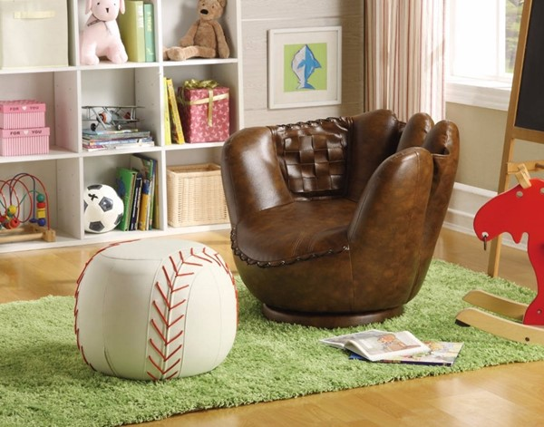 HomeRoots Brown White Leather Baseball Glove Chair and Ottoman Set OCN-314087