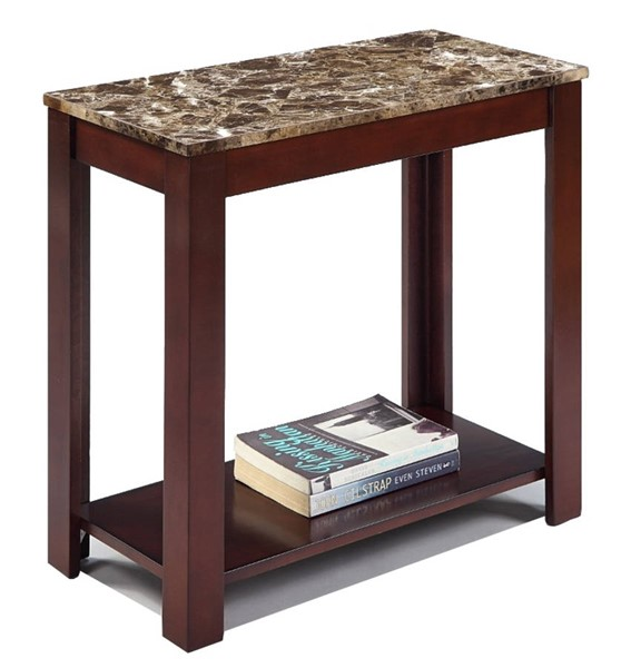 Homeroots Brown Wood Marble Top Chair Side Table OCN-314093
