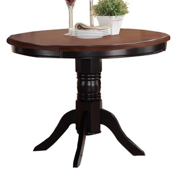 Homeroots Brown Black Acacia Rubberwood Round Dining Tables OCN-314191-DT-VAR