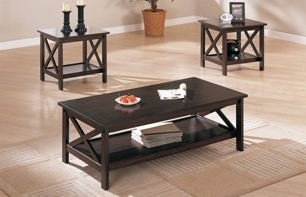 Homeroots Brown Wood Rectangle 3pc Coffee Table Set OCN-314194