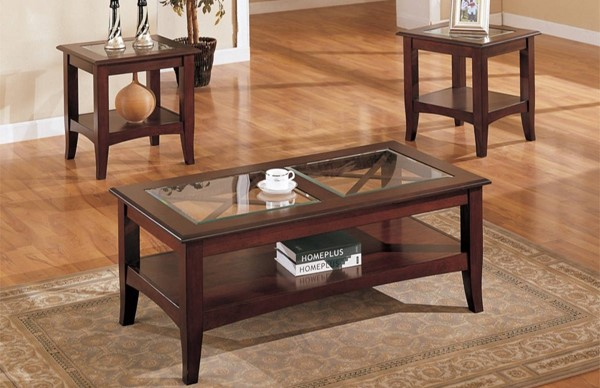 Homeroots Dark Cherry Brown Wood Glass Top 3pc Coffee Table Set OCN-314196