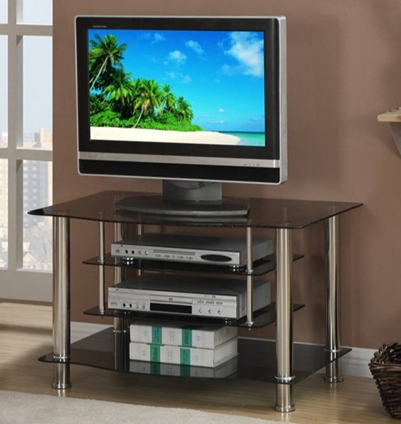 Homeroots Black Glass Silver Metal TV Stand with 4 Shelves OCN-314215