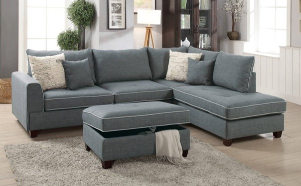 Homeroots Gray Fabric 3pc Sectionals with Storage Ottoman OCN-314232-SEC-VAR