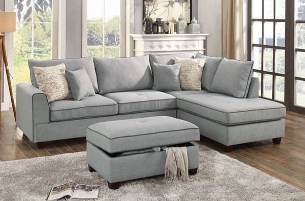 Homeroots Light Gray Fabric 3pc Sectional with Storage Ottoman OCN-314233
