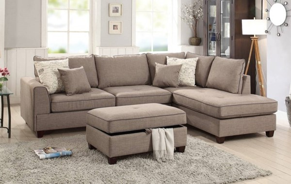 Homeroots Light Brown Fabric 3pc Sectional with Storage Ottoman OCN-314234
