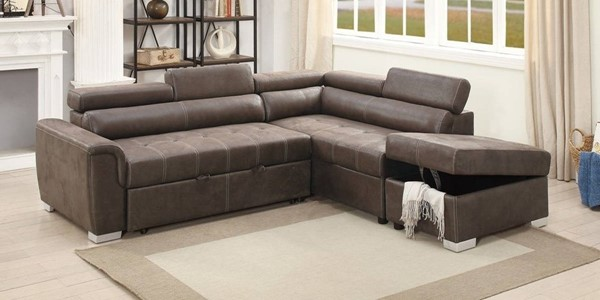 Homeroots Dark Coffee Brown Leatherette 2pc Convertible Sectionals OCN-314237-SEC-VAR