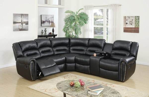 Homeroots Black Bonded Leather 3pc Reclining Sectionals OCN-314256-SEC-VAR