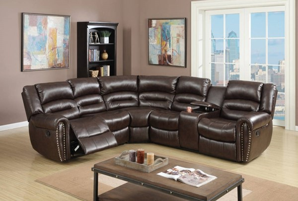 Homeroots Brown Bonded Leather 3pc Reclining Sectional OCN-314257