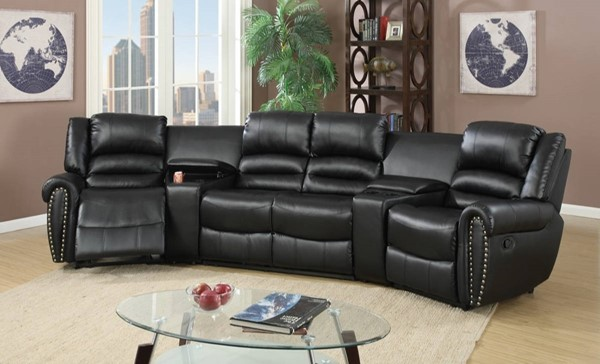 Homeroots Black Bonded Leather Motional 5pc Home Theater Sectional OCN-314258