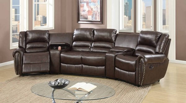 Homeroots Brown Bonded Leather Motional 5pc Home Theater Sectional OCN-314259