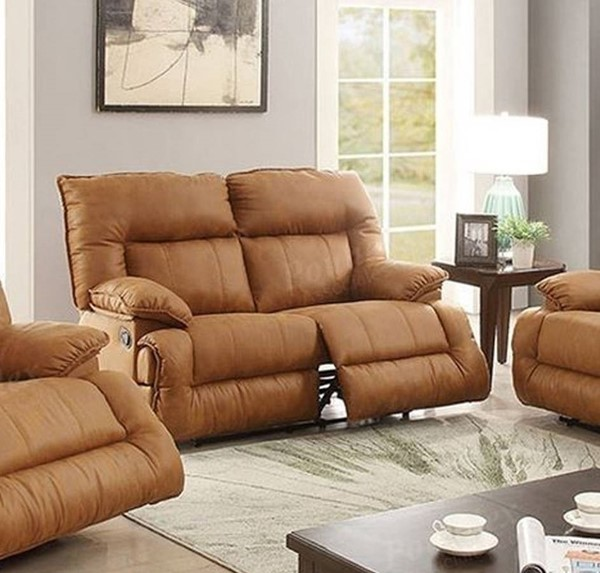 HomeRoots Camel Brown Leatherette Plywood Solid Pine Reclining Loveseat OCN-314264