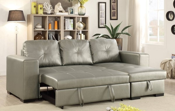 Homeroots Silver Polyurethane 2pc Convertible Sectionals OCN-314266-SEC-VAR