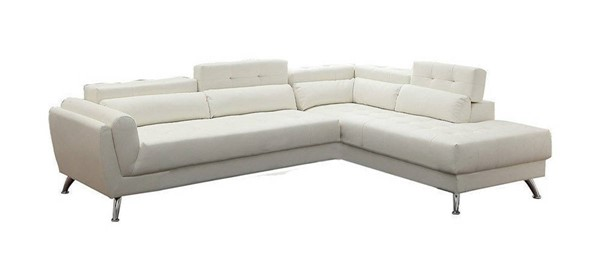 Homeroots White Bonded Leather 2pc Sectional OCN-314271
