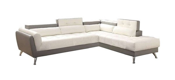 Homeroots White Gray Bonded Leather 2pc Sectional OCN-314272
