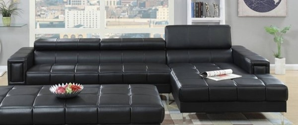Homeroots Black Bonded Leather 2pc Sectional with Adjustable Headrest OCN-314292