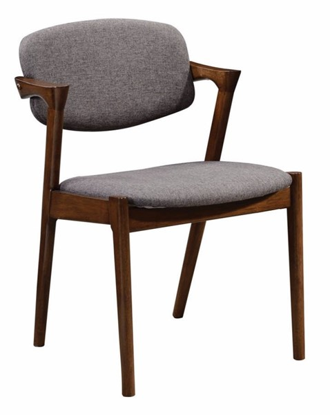 2 Homeroots Gray Fabric Wood Dining Side Chairs OCN-314330