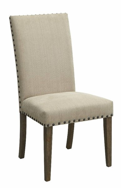2 Homeroots Tan Fabric Side Dining Chairs OCN-314332
