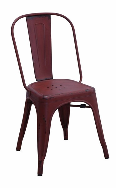 4 Homeroots Red Metallic Industrial Dining Chairs OCN-314334