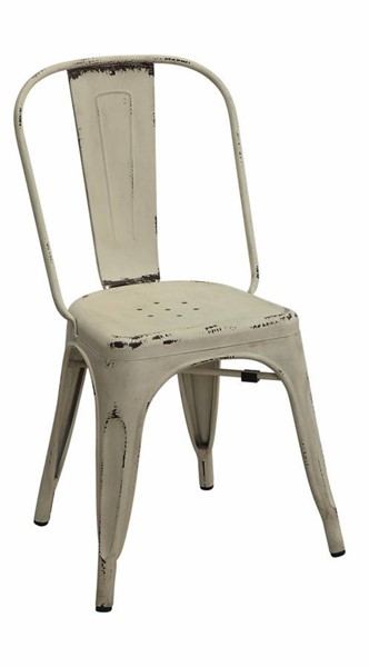 4 Homeroots White Metallic Industrial Dining Chairs OCN-314336