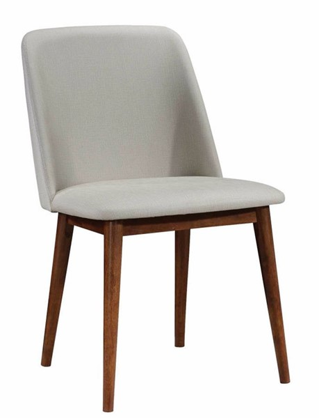 2 Homeroots Tan Fabric Chestnut Brown Wood Dining Chairs OCN-314338