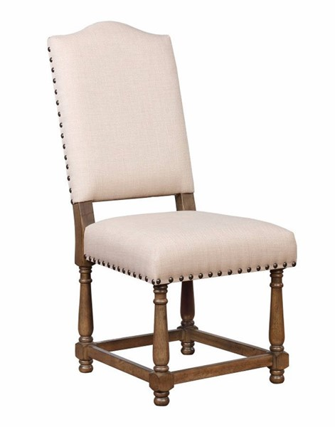 2 Homeroots Beige Fabric Brown Wood Dining Side Chairs OCN-314343