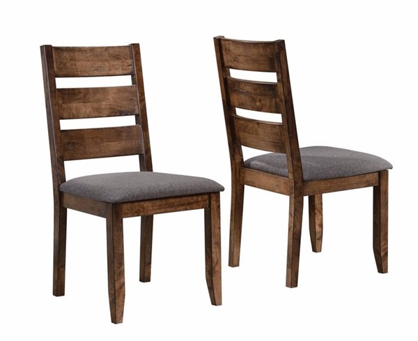 2 Homeroots Gray Fabric Brown Wood Ladder Back Dining Chairs OCN-314344