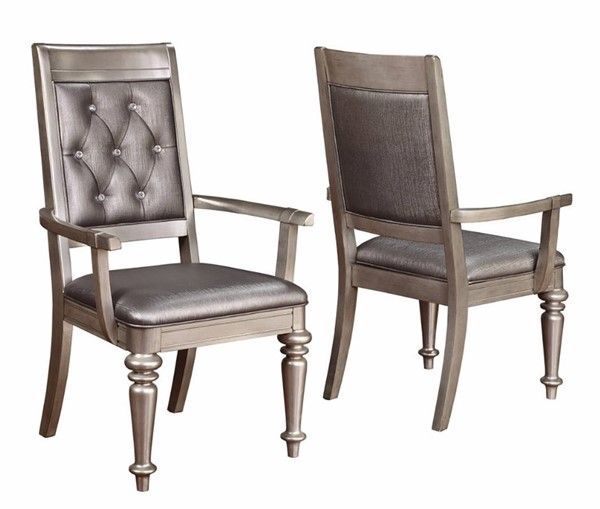 2 Homeroots Gray Wood Tufted Back Arm Dining Chairs OCN-314346