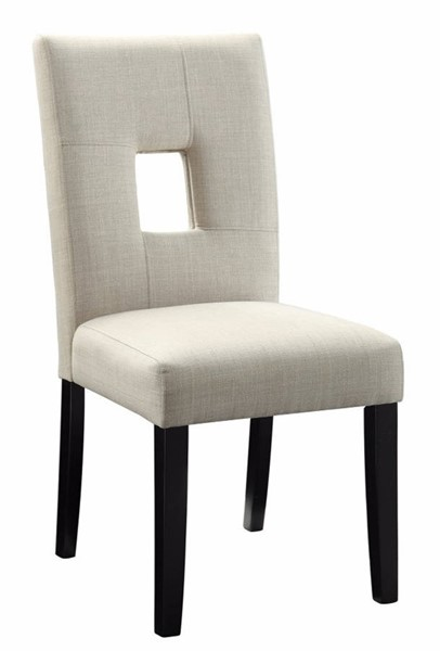 Homeroots Beige Fabric Black Wood Dining Side Chairs OCN-314348-DR-CH-VAR