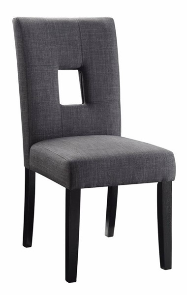 2 Homeroots Gray Fabric Black Wood Dining Side Chairs OCN-314349