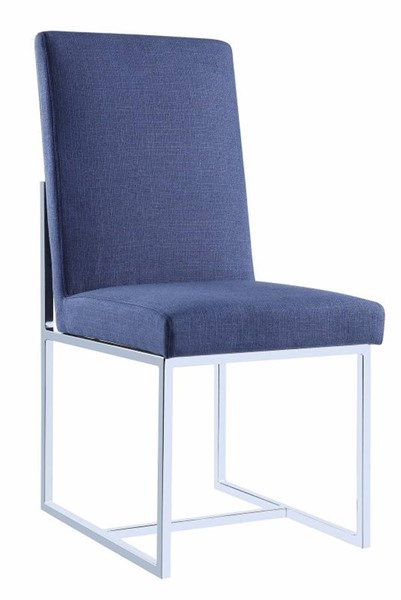 2 Homeroots Blue Fabric Floating Dining Side Chairs OCN-314355