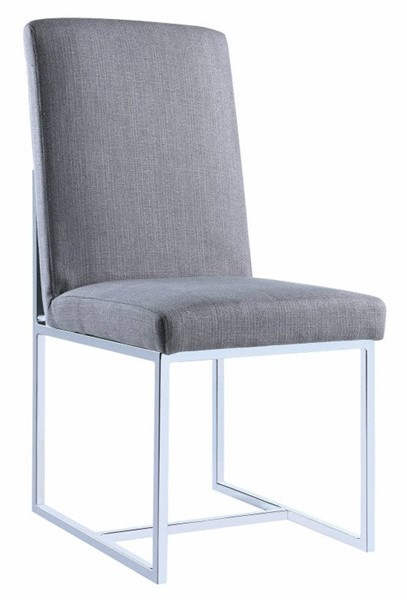 2 Homeroots Gray Fabric Floating Dining Side Chairs OCN-314356