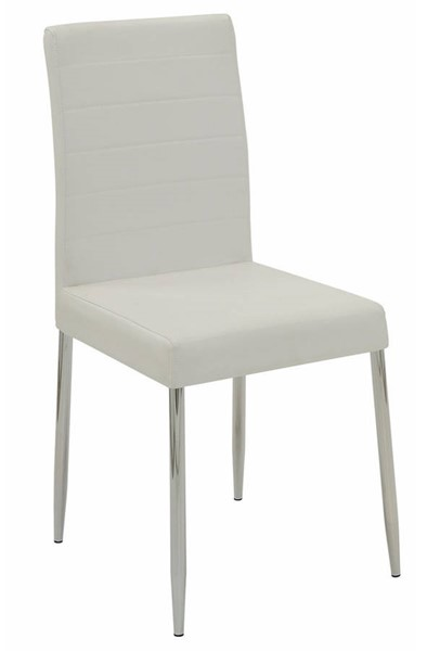 4 Homeroots White Vinyl Dining Side Chairs OCN-314371