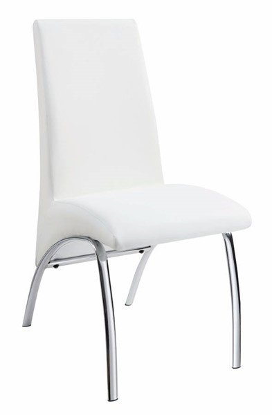 2 Homeroots White Leatherette Dining Chairs OCN-314374