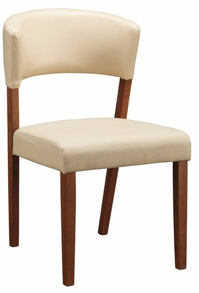 2 Homeroots Cream Leatherette Brown Wood Dining Side Chairs OCN-314378
