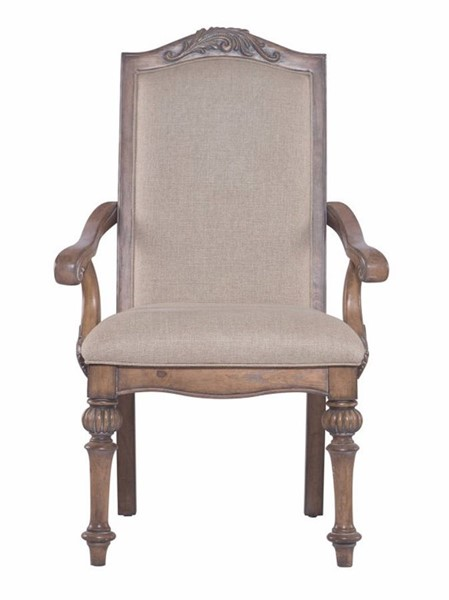 2 Homeroots Beige Fabric Brown Wood Dining Arm Chairs OCN-314380
