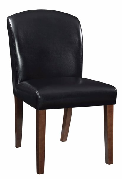 2 Homeroots Black Leather Dining Chairs OCN-314387