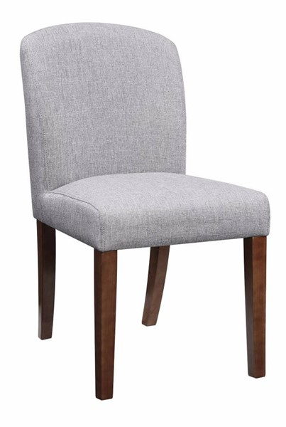 2 Homeroots Gray Fabric Brown Wood Dining Chairs OCN-314388