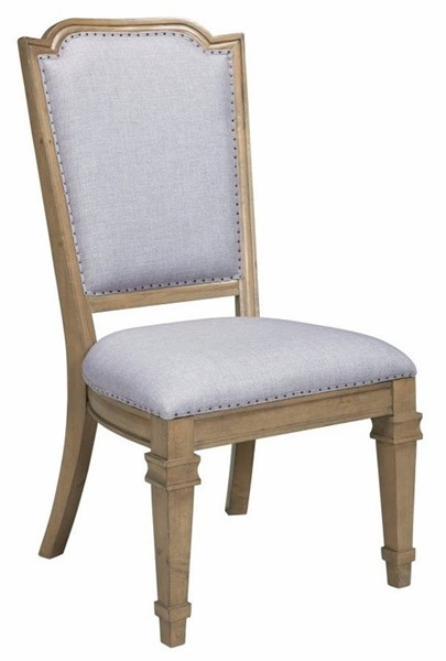 2 Homeroots Gray Fabric Brown Wood Vintage Dining Chairs OCN-314389