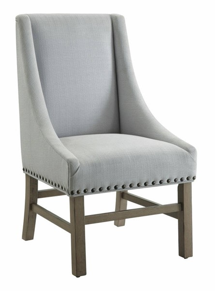 2 Homeroots Gray Fabric Brown Wood Wingback Dining Chairs OCN-314395