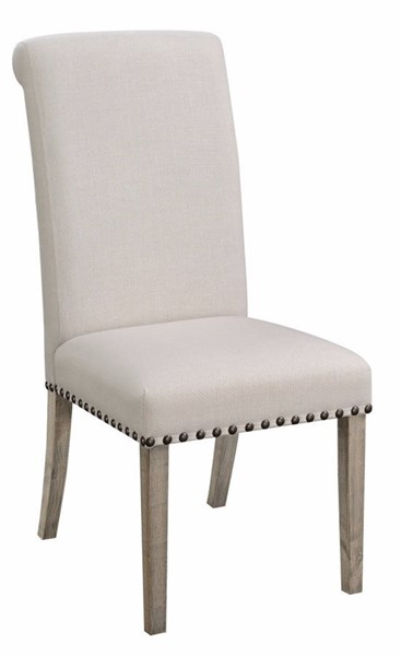 2 Homeroots White Fabric Rolled Back Dining Chairs OCN-314403