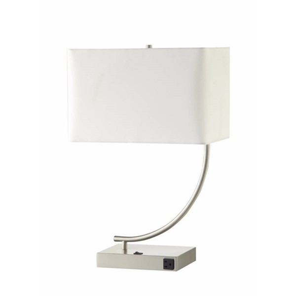 2 HomeRoots White Silver Metal Rectangular Table Lamps OCN-314411