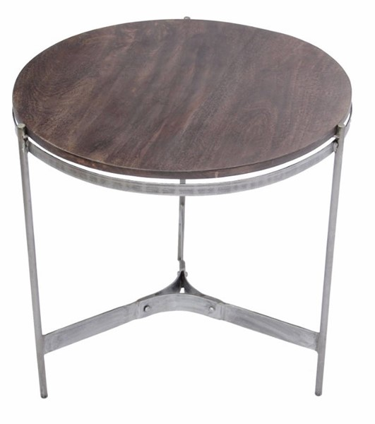 Homeroots Brown Wood Silver Metal Round End Table OCN-314660