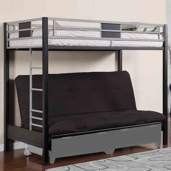 HomeRoots Silver Black Metal Twin Futon Base Bunk Bed OCN-314849