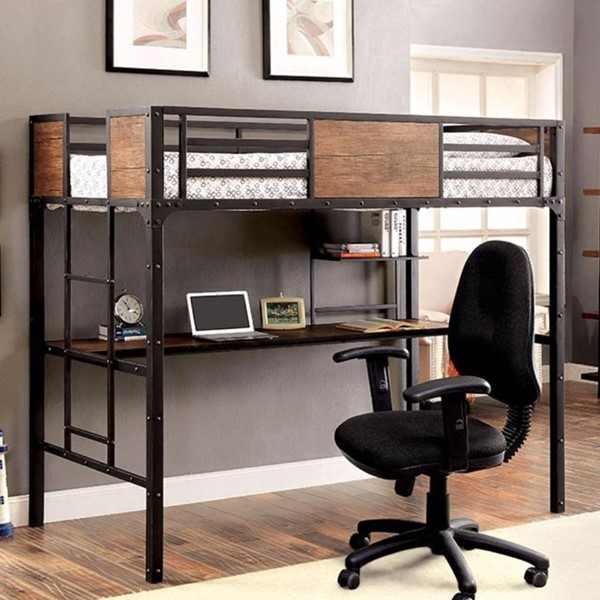 HomeRoots Black Metal Wooden Workstation Twin Bunk Bed OCN-314853
