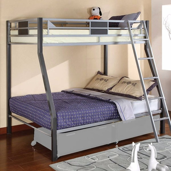 HomeRoots Silver Gray Metal Twin over Full Bunk Bed OCN-314855