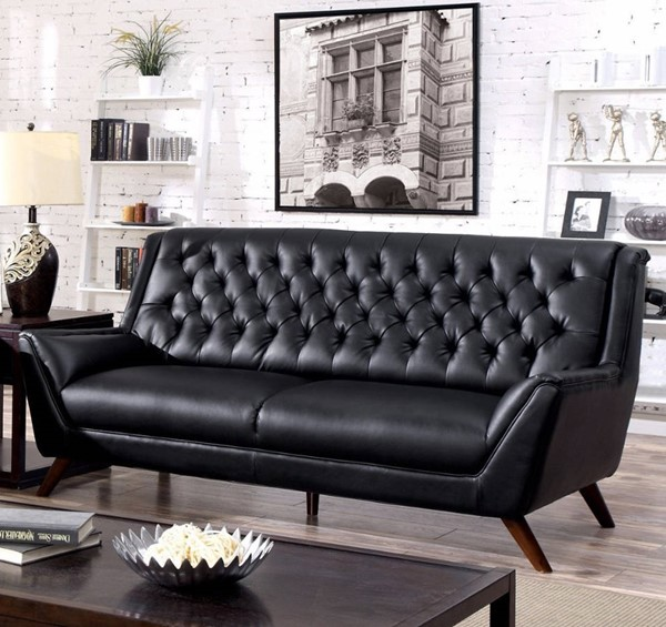 HomeRoots Black Bonded Leather Button Tufted Sofa OCN-314888
