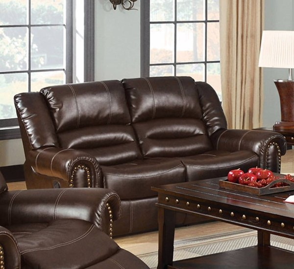 HomeRoots Dark Brown Bonded Leather Loveseat with 2 Recliners OCN-314897