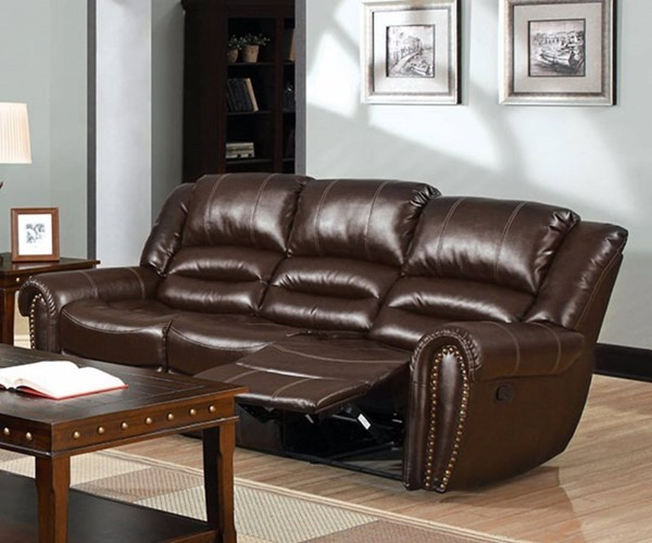 HomeRoots Dark Brown Bonded Leather Sofa with 2 Recliner OCN-314899