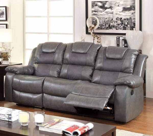 HomeRoots Gray Bonded Leather Three Seater Recliner Sofa OCN-314902