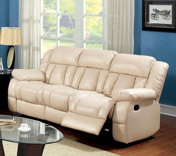 HomeRoots Ivory Bonded Leather 2 Recliners Sofa OCN-314904